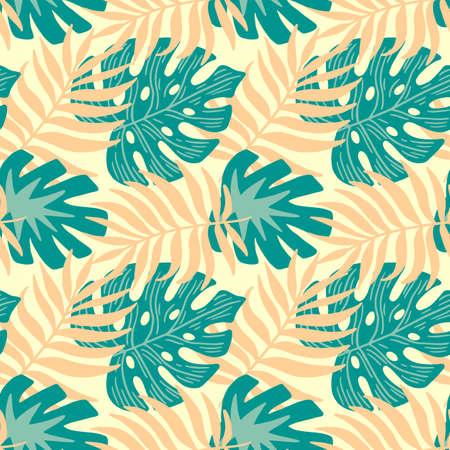 monstera summer tropical jungle seamless pattern
