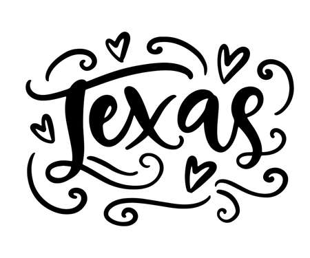 Texas modern city hand written brush lettering