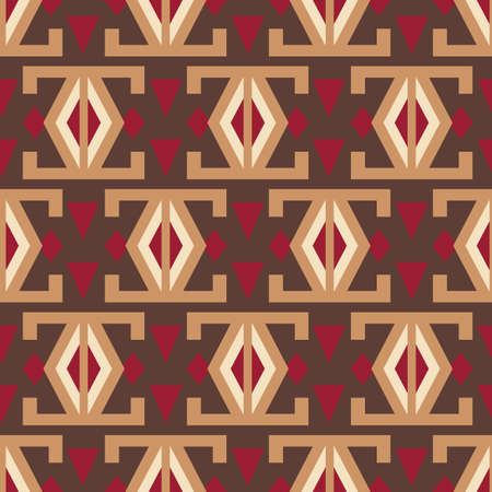 Tribal southwestern native american navajo seamless pattern. Ethnic fashion aztec ornament, abstract geometric handmade print for textile and surface design, package, wallpaper, wrapping paper Banque d'images - 129656861