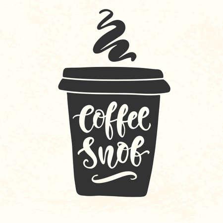 Coffee Snob inscription. Coffee mug silhouette vinyl sticker