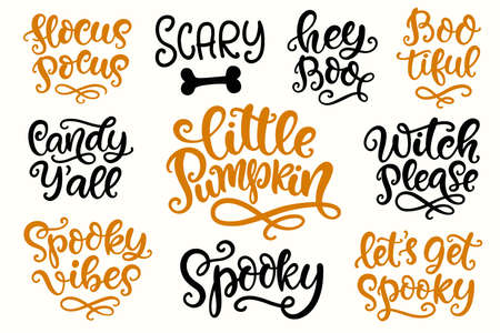 Halloween Party Lettering set. Hand written Ink Modern Calligraphy