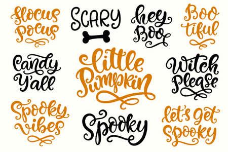Insieme dell'iscrizione della festa di Halloween. Calligrafia moderna dell'inchiostro scritto a mano