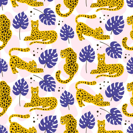 leopard and tropical leaves jungle animal seamless pattern