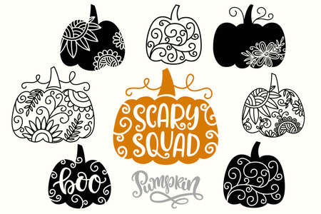 Halloween Thanksgiving Swirly Decorative Pumpkins Silhouettes Çizim