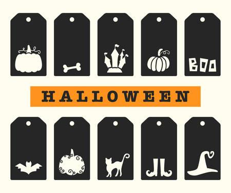 Halloween Gift Tags Templates Set Ilustrace