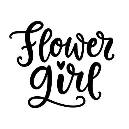 Flower Girl lettering. Wedding ceremony modern calligraphy Çizim