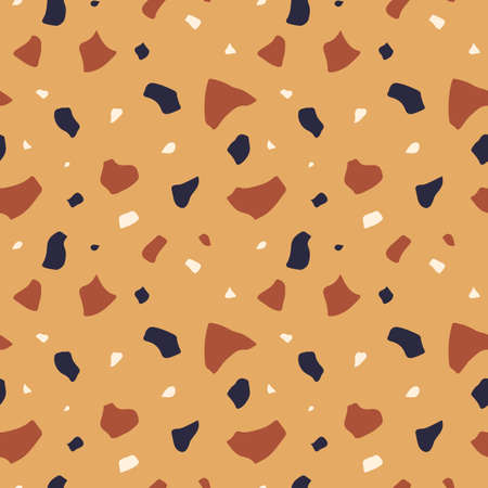 Terrazzo flooring seamless pattern. Classic Italian mosaic repeating background Illusztráció