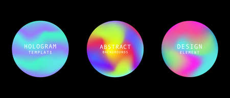 Vector modern futuristic gradient cover round elements set. Abstract dynamic shapes. Trendy minimal colorful website and branding design. Cool poster background. Çizim