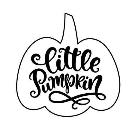 Little Pumpkin. Thanksgiving day, Fall, Halloween Party Poster with Handwritten Ink Lettering. Modern Calligraphy. Typography Template for kids t-shirt, Stickers, Tags, Gift Cards. Vector illustration Ilustrace