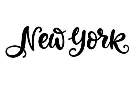 New York city hand written brush lettering, isolated on white background Illusztráció