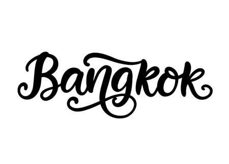 Bangkok city hand written brush lettering, isolated on white background