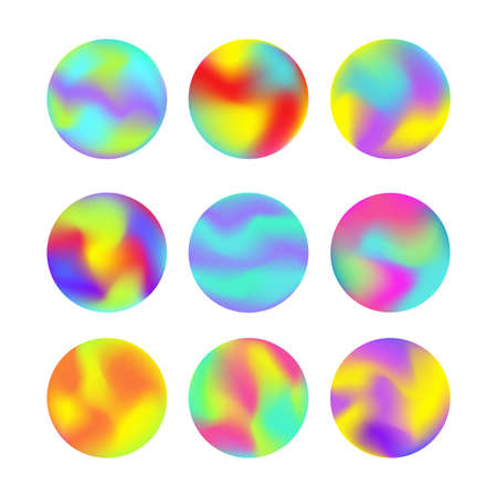 Vector modern futuristic gradient cover round elements set. Abstract dynamic shapes. Trendy minimal colorful website and branding design. Cool poster background. Illusztráció