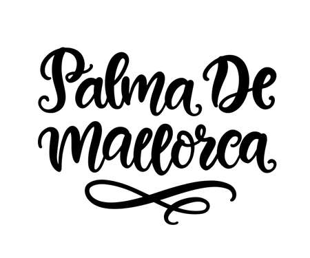 Palma De Mallorca hand written brush lettering, isolated on white background. Modern Ink calligraphy. Tee shirt print, typography card, poster design element. Vector illustration. Vintage retro style Stock fotó - 132620368