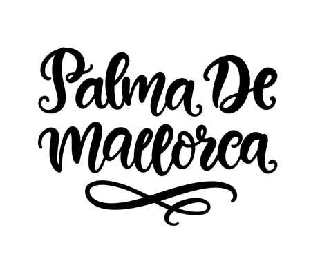 Palma De Mallorca hand written brush lettering, isolated on white background. Modern Ink calligraphy. Tee shirt print, typography card, poster design element. Vector illustration. Vintage retro style Illusztráció