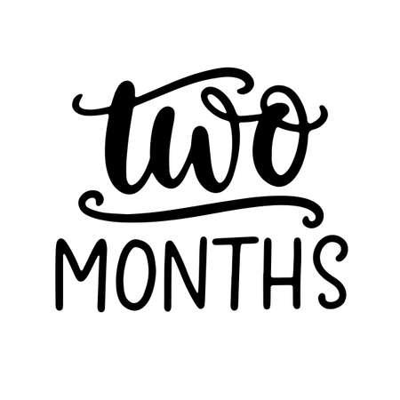 Two months baby shower. Newborn age marker, month anniversary card, milestone vector template design. Illusztráció