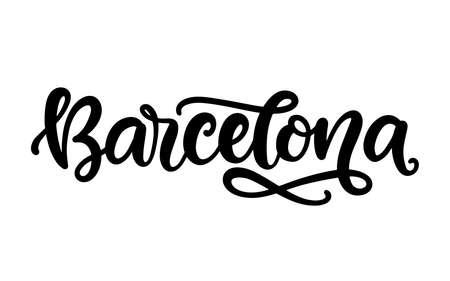 Barcelona city hand written brush lettering, isolated on white background
