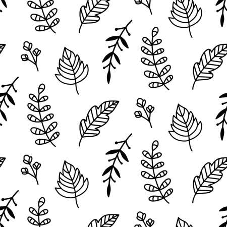 Autumn leaves doodle sketch seamless pattern