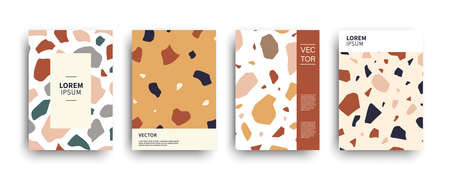 Modern terrazzo abstract covers templates set. Classic Italian mosaic minimal colorful brochure, flyer, poster background composition. Vector illustration. Venetian style bold design. 일러스트