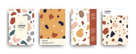 Modern terrazzo abstract covers templates set. Classic Italian mosaic minimal colorful brochure, flyer, poster background composition. Vector illustration. Venetian style bold design. Illusztráció