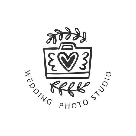 Wedding Photo Studio badge, Photography emblem