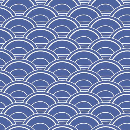 Japanese, Chinese traditional asian blue wave seamless pattern Illusztráció
