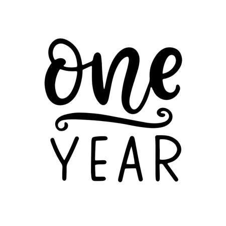 One year baby shower. Newborn age marker Illusztráció