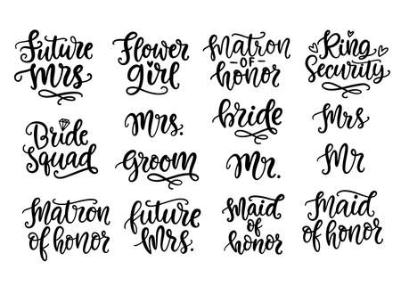 Wedding lettering set, modern calligraphy decoration elements collection Çizim