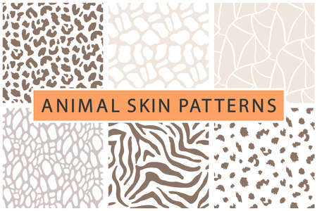 Vector animal skin bold textures print seamless pattern set