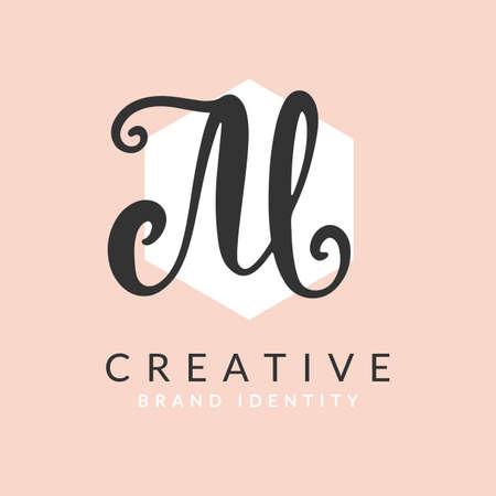 Letter M Vector Brush Hand Written Calligraphy Design Template Illusztráció