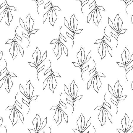 Floral seamless pattern with foliage, botanical endless texture