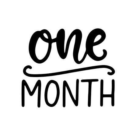 One month baby shower. Newborn age marker, month anniversary card, milestone vector template design.