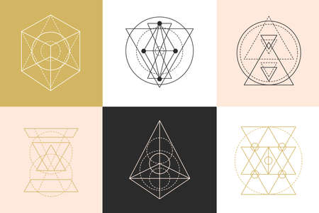 Vector sacred geometry shapes logotype designs set