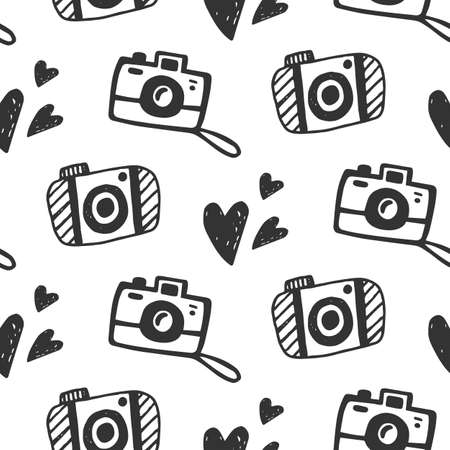Cute photo camera seamless pattern, vintage retro hand drawn doodles background. Black ink elements, isolated on white. Vector illustration.