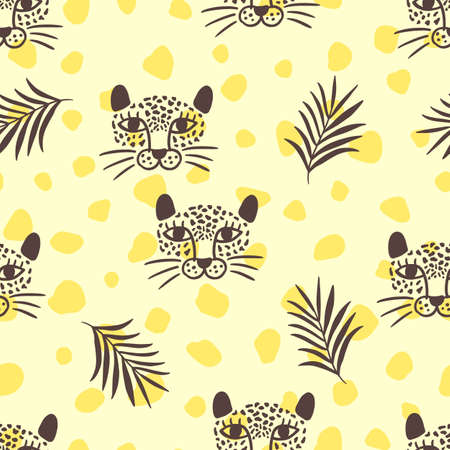 Vector leopard head and tropical leaves jungle animal seamless pattern