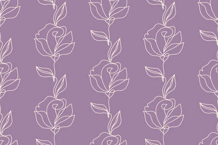 Floral seamless pattern with roses flowers, endless texture, ink sketch art. Vector illustration for wedding invitations, wallpaper, textile, wrapping paper