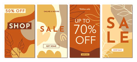 Sale Fashion stories templates set. Abstractions covers. Contemporary art collage with abstract shapes and one line floral drawings. Brochures, posters backgrounds, branding design, warm earthy colors