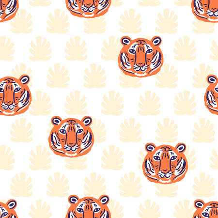 Vector tigers and tropical leaves jungle animal seamless pattern