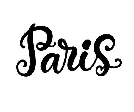 Paris city hand written brush lettering