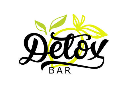 Detox bar badge, calligraphy logotype