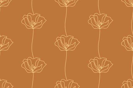 Floral seamless pattern with poppies flowers, endless texture, ink sketch art. Vector illustration for wedding invitations, wallpaper, textile, wrapping paper Ilustração
