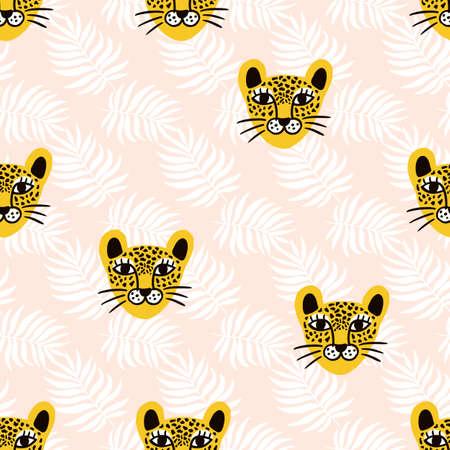 Vector leopard jungle animal seamless pattern Illusztráció