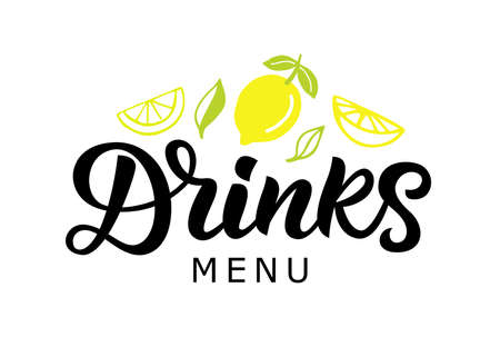 Drinks vector badge, green cocktail bar calligraphy