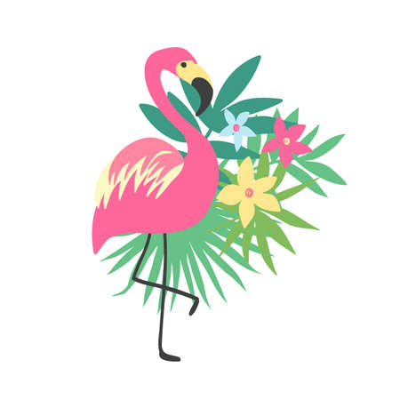 Flamingo. Tropical bird design with exotic plants and flowers, trendy fashion print, isolated on white background.