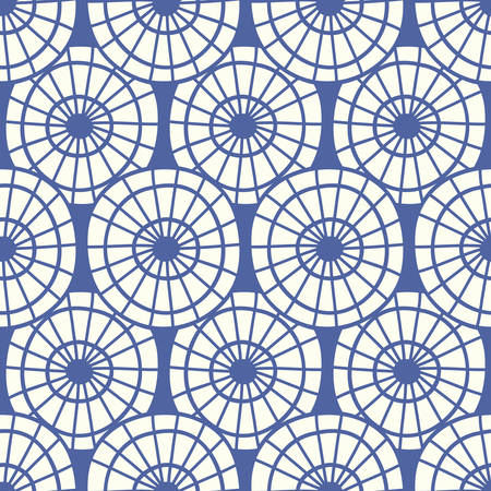 Japanese, Chinese traditional asian blue seamless pattern with wheel circles. Oriental ornament background. Vector illustration Çizim