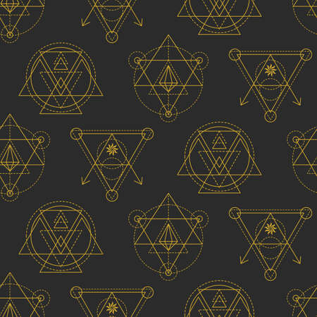 Vector sacred geometry seamless pattern. Aztec mystery signs background. Alchemy, astrology, esoteric, hipster symbol. Vector t shirt print, apparel, textile, fabric, wrapping paper, wallpaper