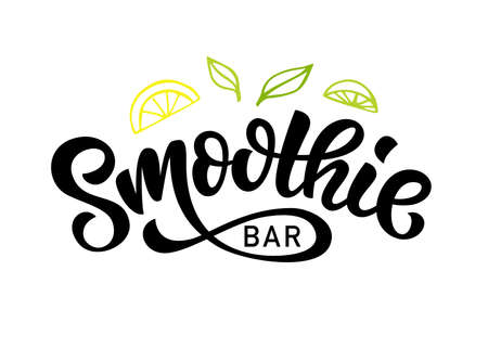 Smoothie bar vector badge, Healthy drinks calligraphy. Hand written modern lettering for cafe, menu. Vintage retro style.