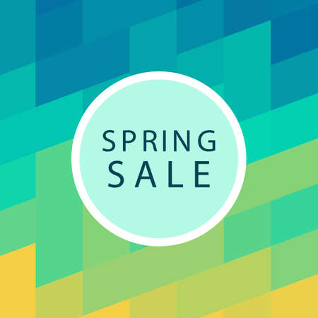 Spring sale banner template design. Abstract vector minimal geometric green trendy background.