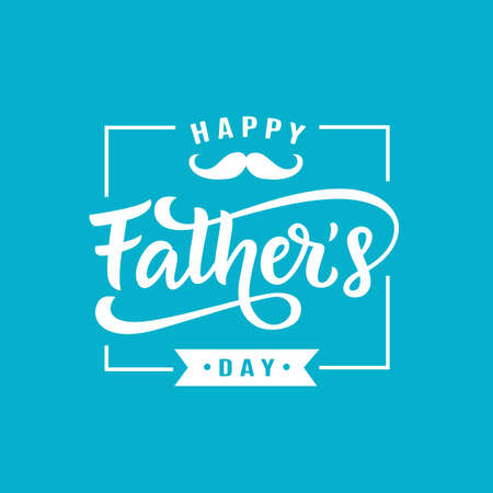 Happy Fathers Day greeting with hand written lettering. Cute typography design template for poster, banner, gift card, t shirt print, label, badge. Retro vintage style. Vector illustration