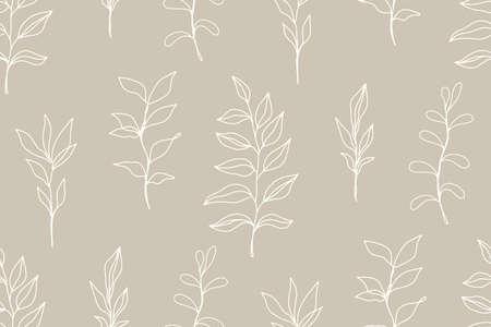 Floral vintage seamless pattern with foliage Illusztráció