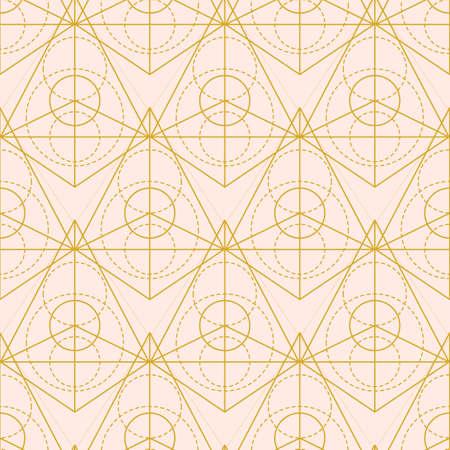 Vector sacred geometry pyramid shape seamless pattern